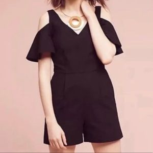 Anthropologie Elevenses Black Cold Shoulder Romper